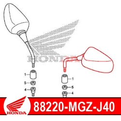 88220-MGZ-J40 : Retroviseur gauche d'origine Honda CB500