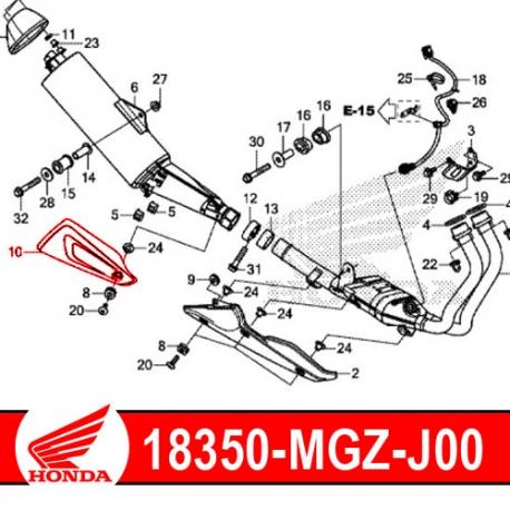 18350-MGZ-J00 : Couvercle protection d'échappement origine CB500X CB500F CBR500R