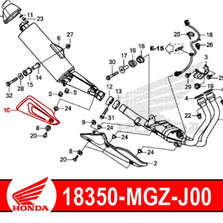 18350-MGZ-J00 : Honda exhaust protection shield CB500X CB500F CBR500R