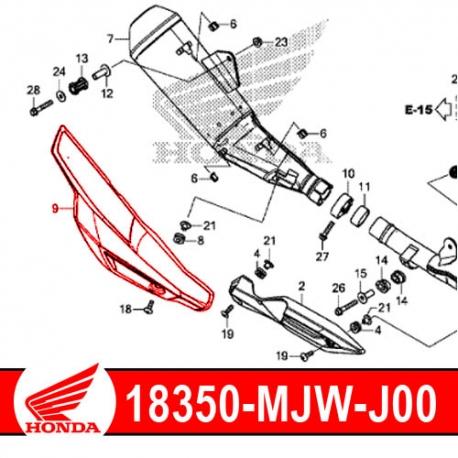 18350-MJW-J00 : Couvercle protection d'échappement origine CB500X CB500F CBR500R