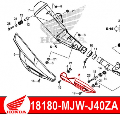 18180-MJW-J40ZA : Couvercle protection de collecteur origine CB500X CB500F CBR500R