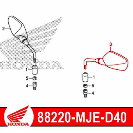 88220-MJE-D40 : Honda Left Mirror CB500X CB500F CBR500R