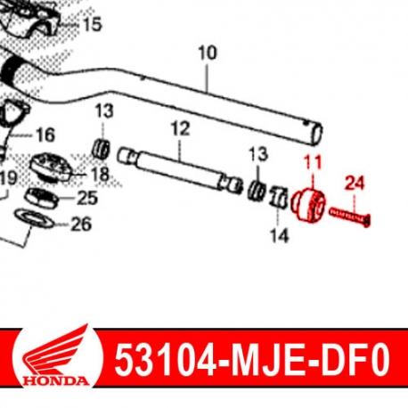 53104-MJE-DF0 + 90191-MJE-D40 : Embout de guidon d'origine Honda CB500X CB500F CBR500R