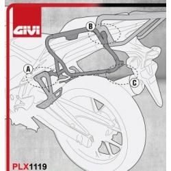 PLX1119 : Support de valises latérales Givi PLX1119 CB500X CB500F CBR500R